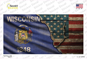 Wisconsin/American Flag Wholesale Novelty Sticker Decal