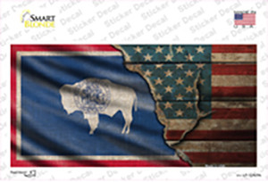 Wyoming/American Flag Wholesale Novelty Sticker Decal