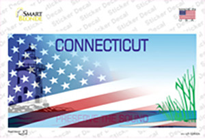 Connecticut Half American Flag Wholesale Novelty Sticker Decal