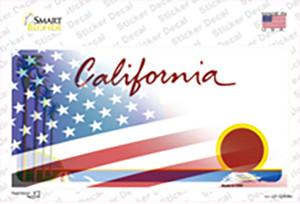 California Palm American Flag Wholesale Novelty Sticker Decal