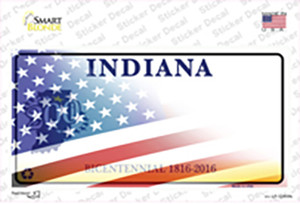 Indiana Half American Flag Wholesale Novelty Sticker Decal