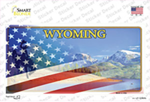 Wyoming Half American Flag Wholesale Novelty Sticker Decal
