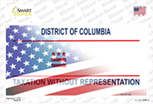 District of Columbia with American Flag Wholesale Novelty Sticker Decal