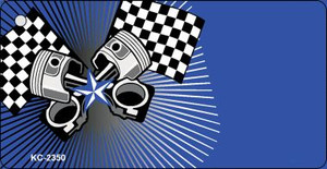 Pistons Checkered Flags OffSet Wholesale Novelty Key Chain