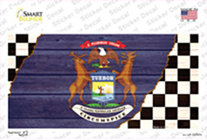 Michigan Racing Flag Wholesale Novelty Sticker Decal