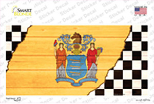 New Jersey Racing Flag Wholesale Novelty Sticker Decal