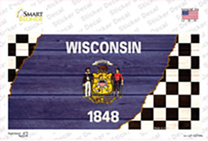 Wisconsin Racing Flag Wholesale Novelty Sticker Decal