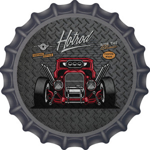 Ride the Classic Red Hotrod Wholesale Novelty Metal Bottle Cap