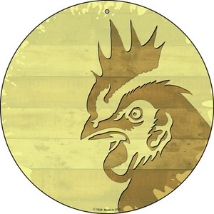 Rooster Shilouette Wholesale Novelty Metal Circular Sign