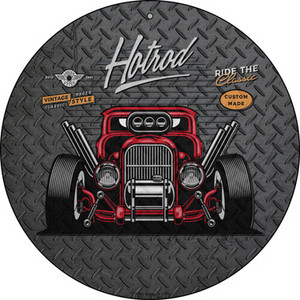 Ride the Classic Red Hotrod Wholesale Novelty Metal Circular Sign