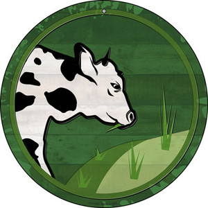 Cow Eating Grass Wholesale Novelty Small Metal Circular Sign