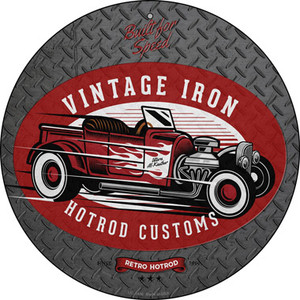 Vintage Iron Red Wholesale Novelty Small Metal Circular Sign