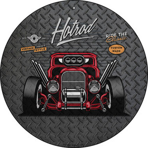 Ride the Classic Red Hotrod Wholesale Novelty Small Metal Circular Sign