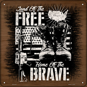 Land of Free Home of Brave Wholesale Novelty Metal Square Sign
