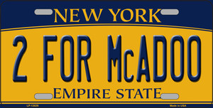 2 For McAdoo New York Wholesale Novelty Metal License Plate Tag