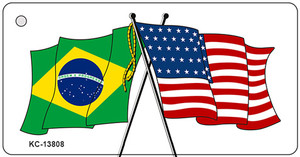 Brazil USA Crossed Flags Wholesale Novelty Metal Key Chain