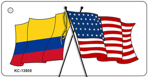 Colombia USA Crossed Flags Wholesale Novelty Metal Key Chain