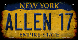 Allen 17 New York Yellow Wholesale Novelty Metal Bicycle Plate