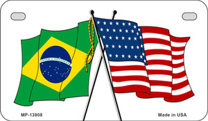 Brazil USA Crossed Flags Wholesale Novelty Metal Motorcycle Plate