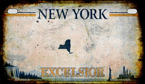 Excelsior New York Blank Rusty Wholesale Novelty Metal Motorcycle Plate