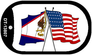 American Samoa USA Crossed Flags Wholesale Novelty Metal Dog Tag Necklace