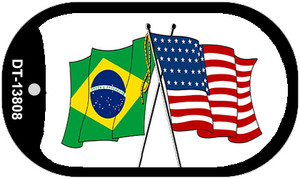 Brazil USA Crossed Flags Wholesale Novelty Metal Dog Tag Necklace