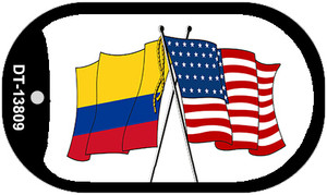 Colombia USA Crossed Flags Wholesale Novelty Metal Dog Tag Necklace