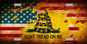 Don't Tread On Me US Flag Novelty Wholesale Metal License Plate