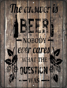 The Answer Is Beer Wholesale Novelty Mini Metal Parking Sign