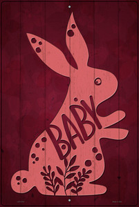 Baby Bunny Wholesale Novelty Large Metal Parking Sign
