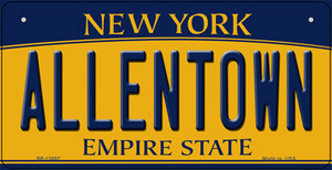 Allentown NY Yellow Wholesale Novelty Metal Bicycle Plate