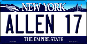 Allen 17 NY Blue Wholesale Novelty Metal Bicycle Plate