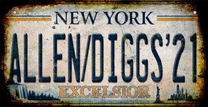 Allen Diggs 21 NY Excelsior Rusty Wholesale Novelty Metal Bicycle Plate