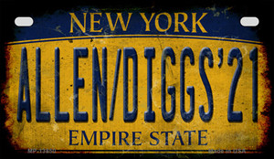 Allen Diggs 21 NY Yellow Rusty Wholesale Novelty Metal Motorcycle Plate