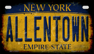Allentown NY Yellow Rusty Wholesale Novelty Metal Motorcycle Plate