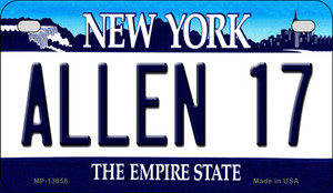 Allen 17 NY Blue Wholesale Novelty Metal Motorcycle Plate