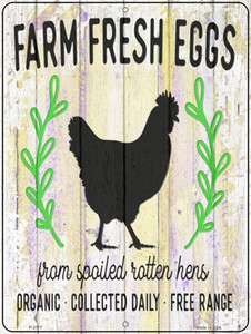 Farm Fresh Eggs Chickens Wholesale Novelty Metal Parking Sign