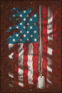 American Flag With Dog Tags Wholesale Novelty Large Metal Parking Sign