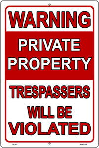 Trespassers Will Be Violated Wholesale Novelty Large Metal Parking Sign