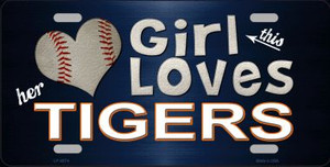 This Girl Loves Her Tigers Novelty Wholesale Metal License Plate