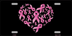 Pink Ribbons Novelty Wholesale Metal License Plate