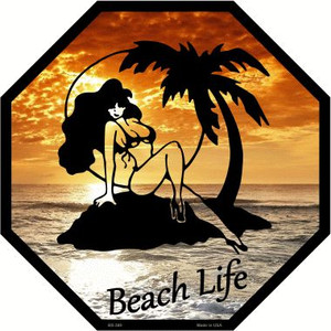 Beach Life Wholesale Metal Novelty Stop Sign