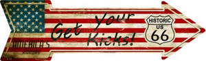 American Flag Get Your Kicks Wholesale Novelty Metal Arrow Sign