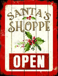 Santas Shop Open Wholesale Metal Novelty Parking Sign