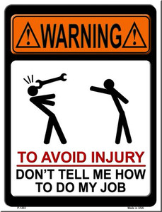 To Avoid Injury Wholesale Metal Novelty Parking Sign