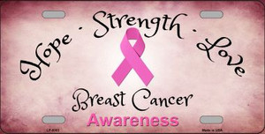Breast Cancer Ribbon Novelty Wholesale Metal License Plate