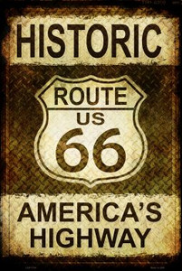 Historic Route 66 Wholesale Metal Novelty Large Parking Sign