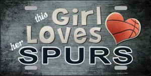 This Girl Loves Her Spurs Novelty Wholesale Metal License Plate