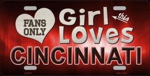 This Girl Loves Cincinnati Novelty Wholesale Metal License Plate