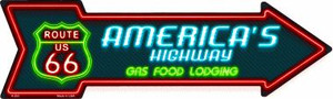 Route 66 Lodging Wholesale Novelty Metal Arrow Sign